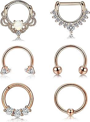 Finrezio 6 Pcs 16g 18g Stainless Steel Ring Piercing Nose Set
