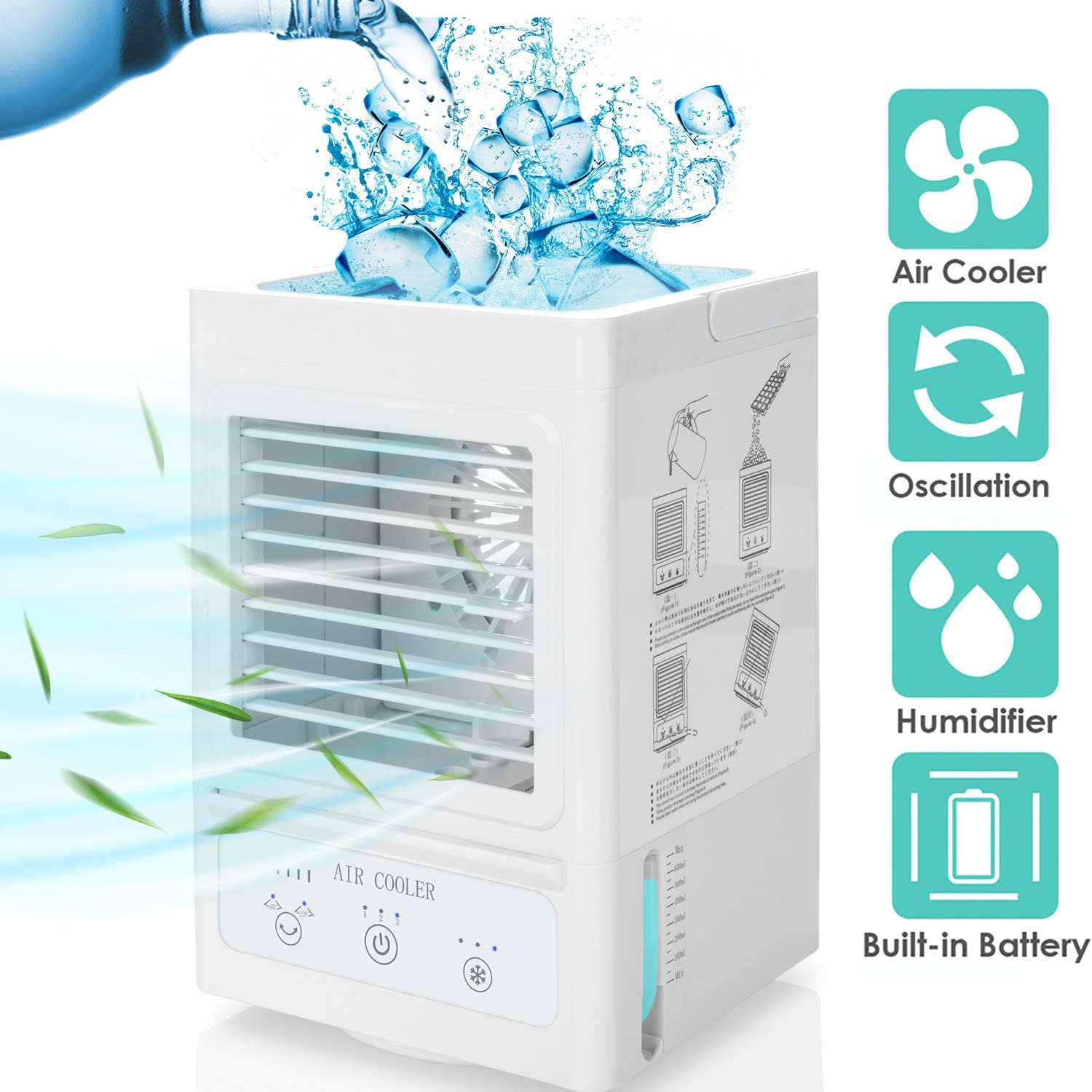 Portable Air Conditioner, 5000mAh Rechargeable Battery Operated 120°Auto Oscillation Personal Mini Air Cooler with 3 Wind Speeds, 3 Cooling Levels, Perfect for Office Desk, Dorm, Bedroom and Outdoors