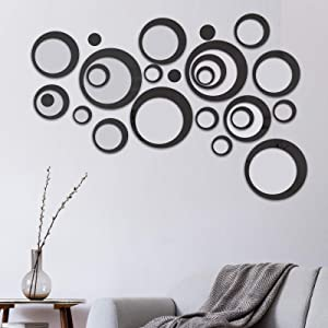 COCIVIVRE Mirror Wall Sticker, Removable Acrylic Circle Mirror Setting Wall Sticker 24pcs, DIY Family Wall Decor Sticker, 3D Mirror Sticker Wall Decoration for Living Room Home Bedroom, Black