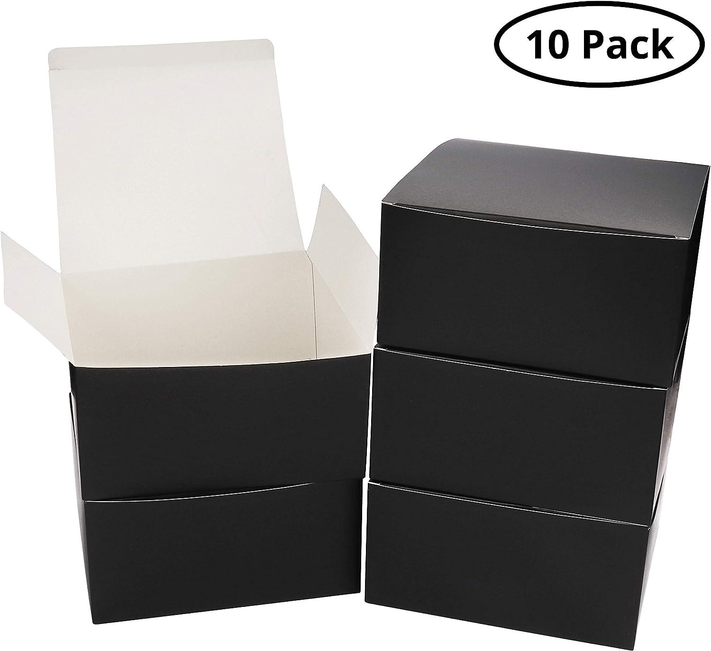 Pack de 10 Cajas kraft Negras - Cajas Regalo Carton Tamaño 20x20x10cm Cajas Regalos con Tapa para Magdalenas, Manualidades, Damas de Honor Cajas Negras