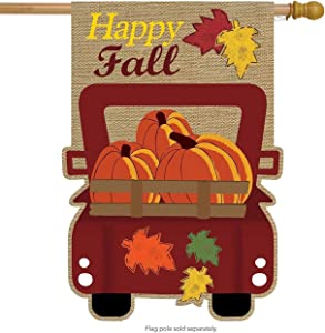 "Briarwood Lane Happy Fall Pickup Burlap House Flag Autumn Give Thanks 28"" x 40"""