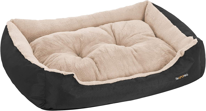 FEANDREA Cama para Perro, Cojín Reversible, 70 x 55 x 21 cm, Negro PGW03BGV1