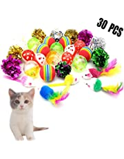 30Pcs Kitten Toys Interactive Mice Cat Toys Variety Pack Soft Cat Balls with Bells Feathers Mouse Crinkle Balls for Indoor Kitty and Cats