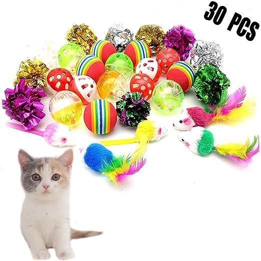 30 juguetes interactivos para gatos, ratones y gatos, paquete variado, pelotas suaves con campanas, plumas de ratón, bolas arrugadas para interior de gatitos y gatos: Amazon.es: Productos para mascotas