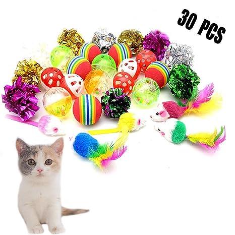 Forwindog 30 Bolas de Gato con cascabeles Juguetes Pelotas de Arrugas Mice Spring Juguetes interactivos para