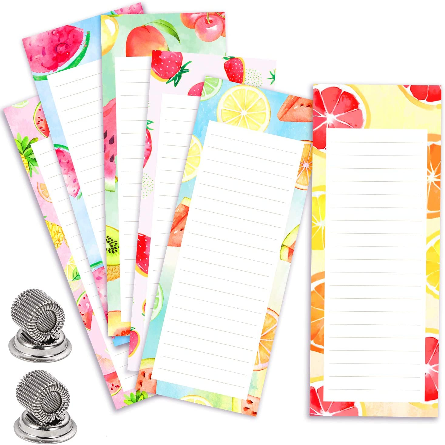 """6 Pack Magnetic Notepad for Fridge with 2 Magnetic Pen Holder, 6 Colorful Fruit Designs to Do List Notepad for Grocery Shopping Lists, Reminders, Schedules, 60 Sheets/Pad, 3.1""""x 8.3"""""""