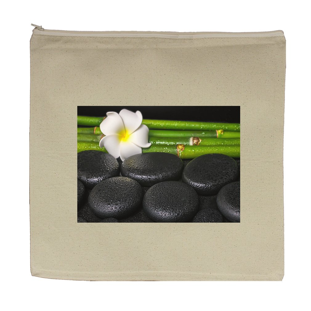 Canvas Zipper Pouch Tote Bag 5.5''X7.5'' Beautiful Spa Concept Zen Basalt Stones