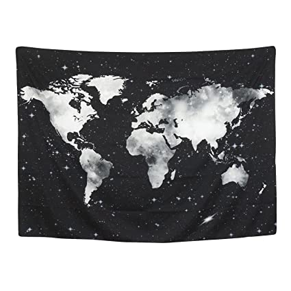 Amazon.com: BLEUM CADE World Map Tapestry Wall Hanging Starry