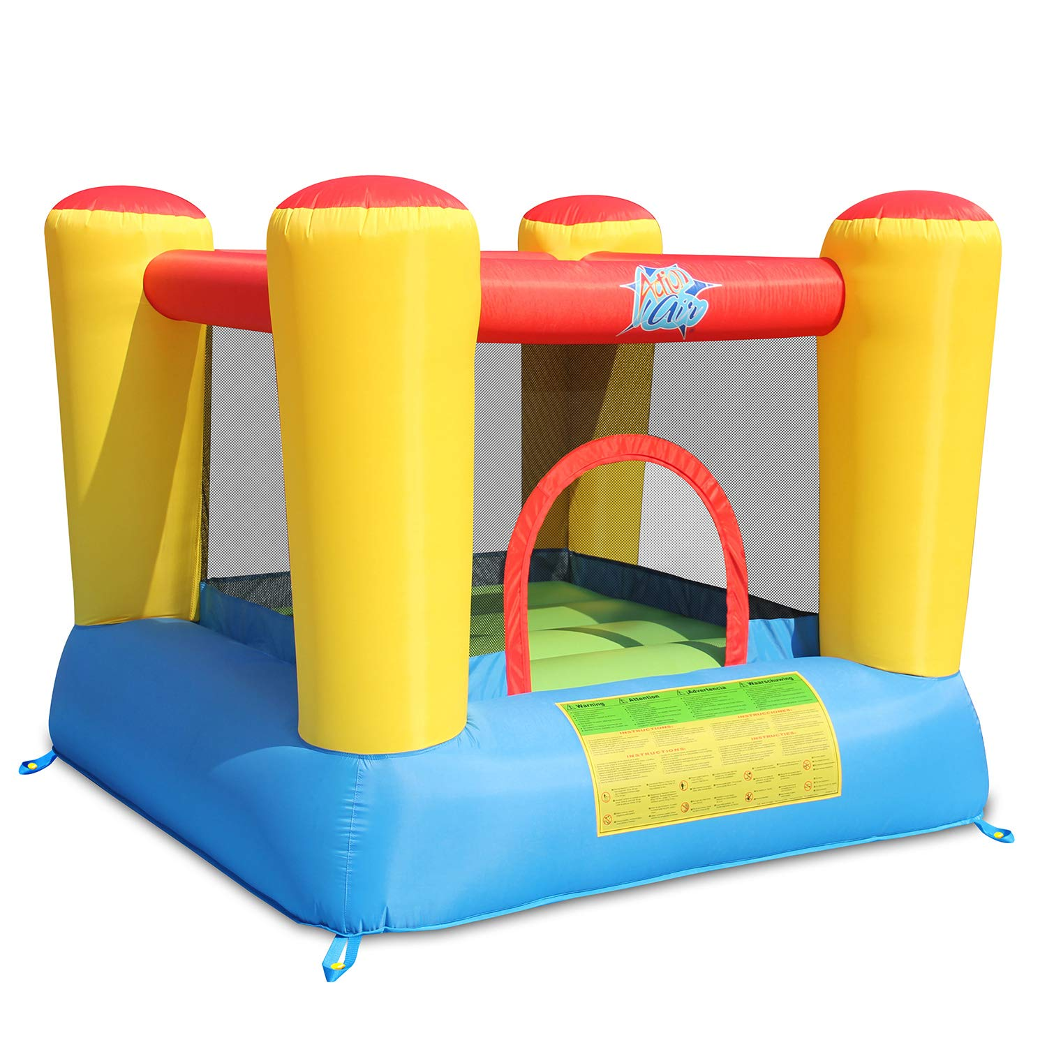 Action Luft Bounce House, 6.6X6.6 Foot Inflatable Bounce House mit Blower, Kids Bouncy House für Outdoor und Indoor, Durable Sewn mit Extra Thick Material, Idee für Kids(9420)
