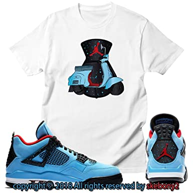 3fedc30d7a9 Custom T Shirt Matching Travis Scott x Air Jordan 4 Cactus Jack JD 4-1-2 at  Amazon Men's Clothing store: