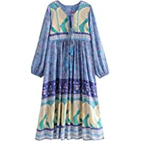 R.Vivimos Women's Floral Print Retro Long Sleeve Dresses