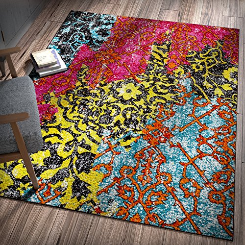Cosmopolitan Dark Wood (Treehouse Bohemian Patchwork Multi Pink Red Yellow Blue Orange Green Black Oriental Damask 5 x 7 ( 5'3