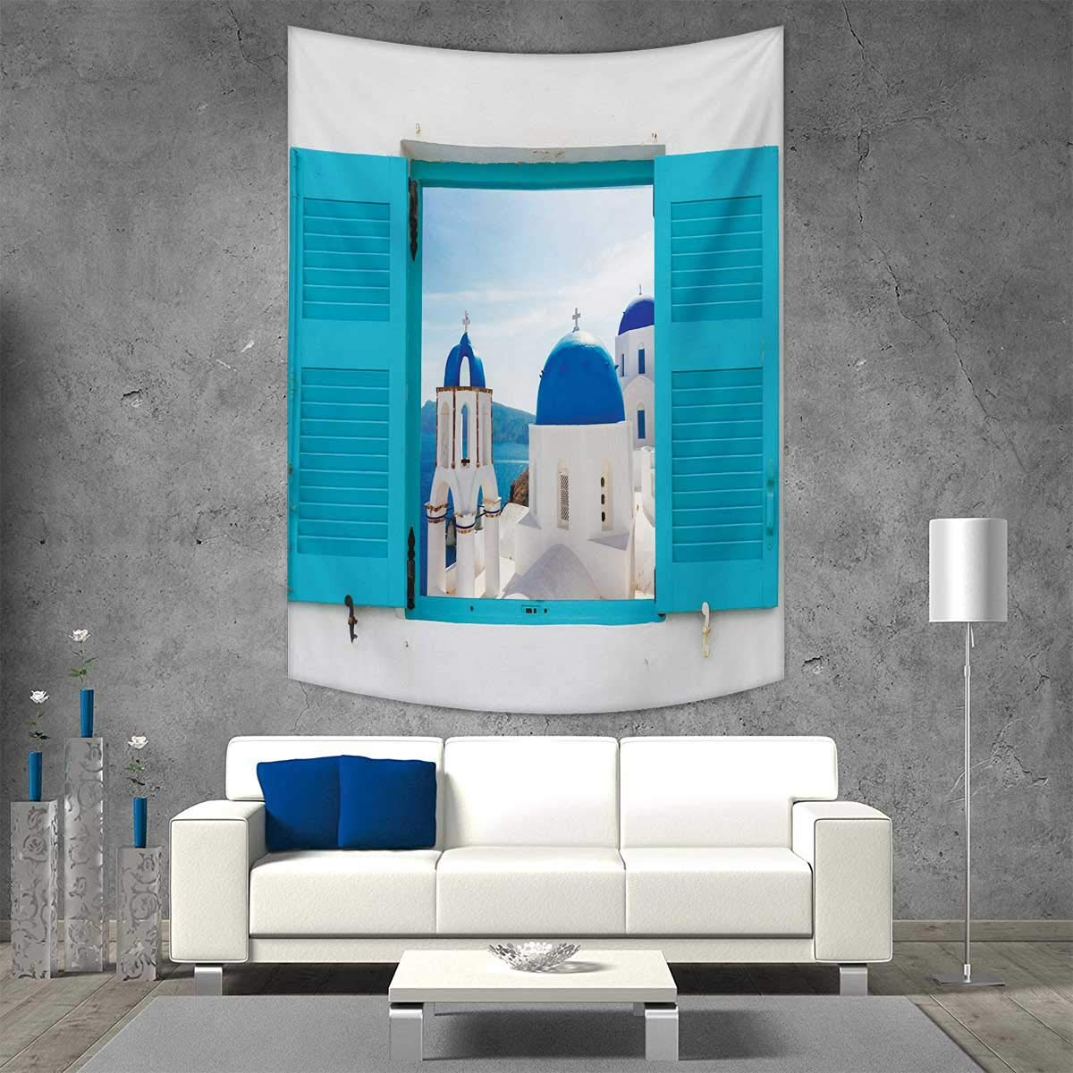 smallbeefly Landscape Vertical Version Tapestry Window with View of Classical Building with Blue Domes Oia Santorini Greece Throw, Bed, Tapestry, or Yoga Blanket 54W x 72L INCH Aqua Blue White