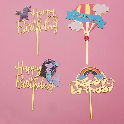 Comius Topper Tarta, 4 Piezas Happy Birthday Cake Topper ...