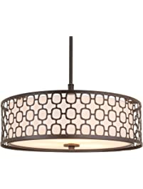 Amazing Revel Harper Light Double Drum Chandelier w Lattice Outer Metal Shade