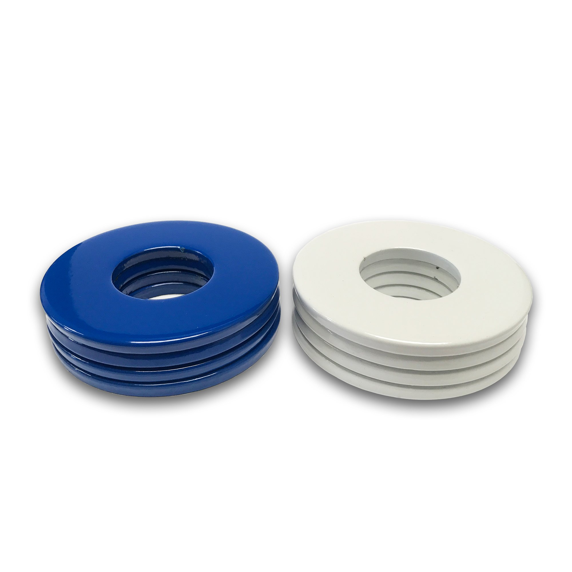 4 Blue/4 White Powder Coated Replacement 2-1/2 Washer Toss Pitching Game Washers - High Gloss! by Washer Toss Pros