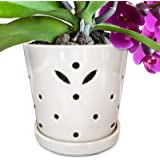 """Atri Ceramic Orchid Pot with Holes, 5"""" Small Decorative Flower Pot with Drainage Hole and Saucer (5"""" H x 5.25"""" W top and 4.25"""