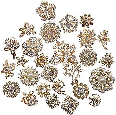 6-48 SILVER DIAMANTE CRYSTAL FLOWER BROOCH JOBLOT WEDDING BRIDAL WHOLESALE LOT