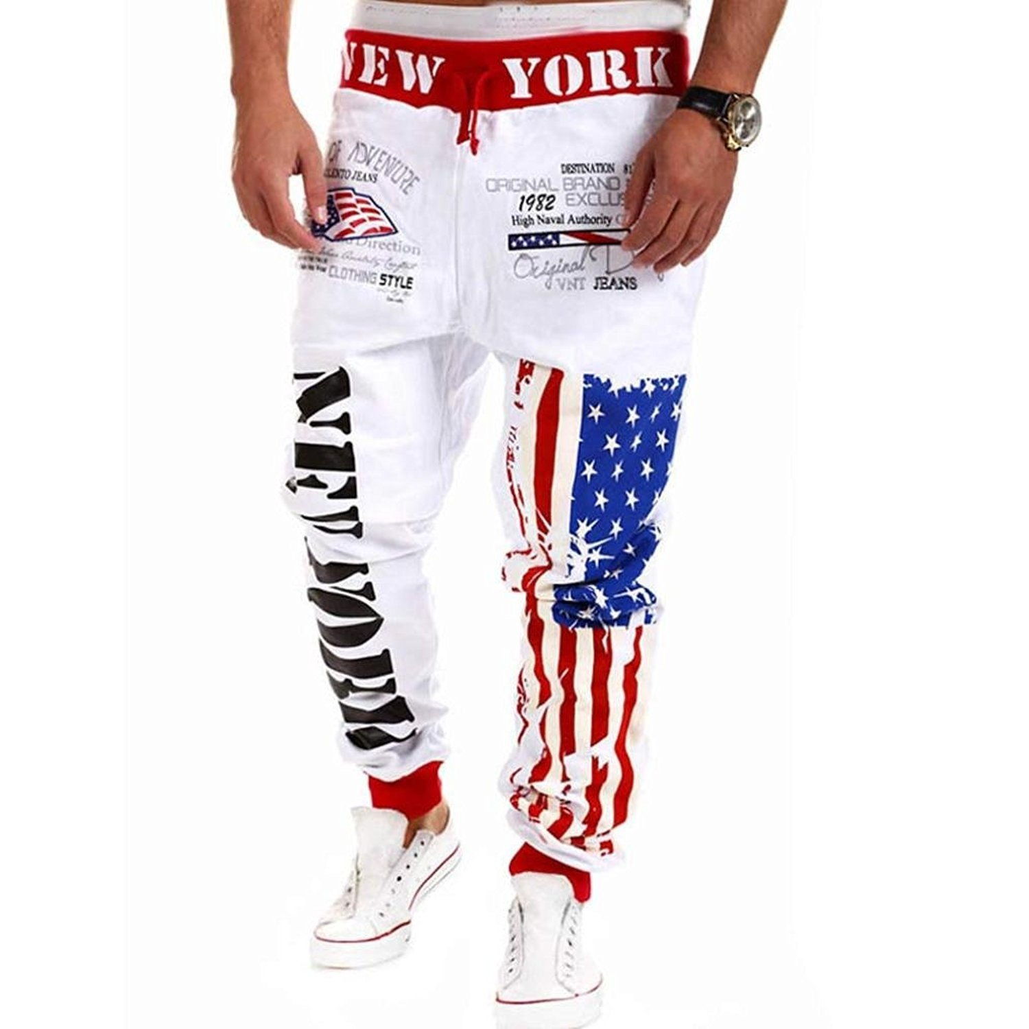 Sunward Mens Casual USA Flag Stars Sports Pants Dance Jogging Training Trousers