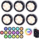 Led Puck Lights with Remote Control, UYICOO Wireless Color Changing Dimmable Under Cabinet Lighting, 3500K Battery Operated S