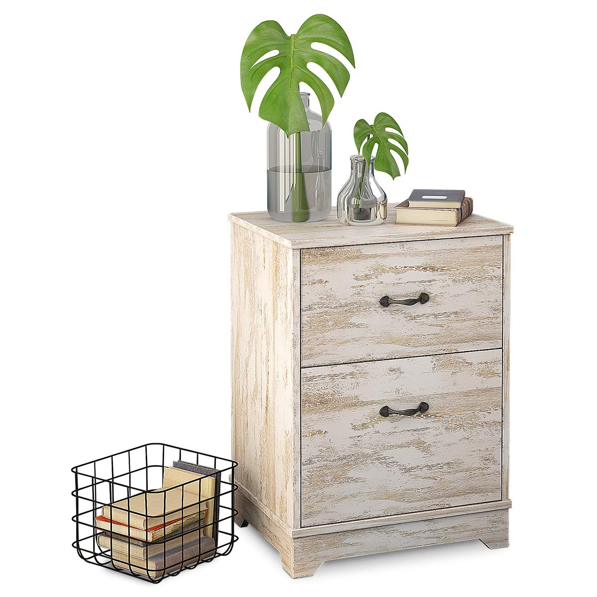 W-LIVE 2-Drawer Nightstand, Wood End/Accent Table,White Oak