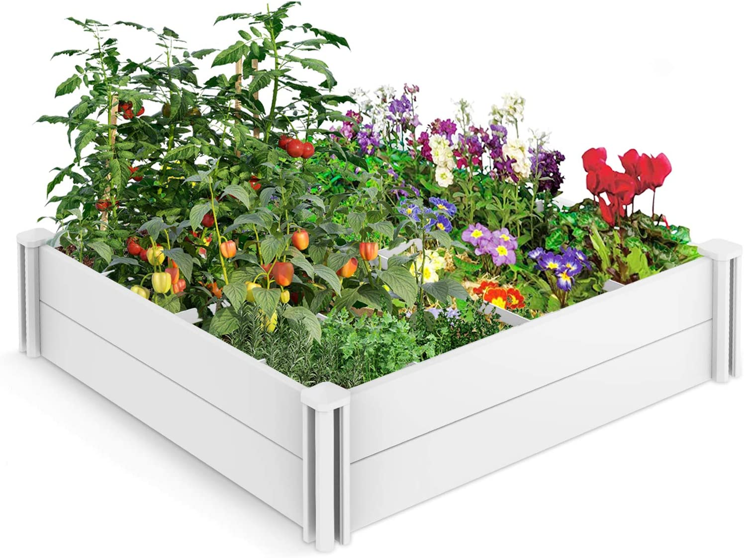 Lovinouse Premium 4 x 4 ft Raised Garden Beds with Grow Grid, for Vegetables, Flowers, Herbs, Plants, Large Vinyl Planting Box, Whelping Box