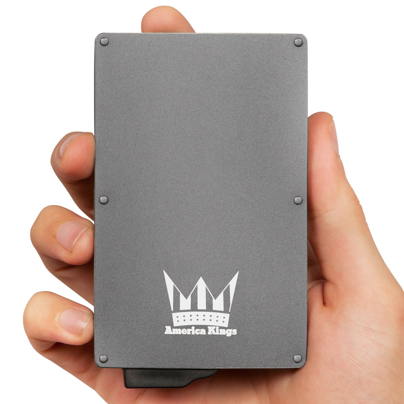 RFID Blocking Credit Card Holder By America Kings, Aluminum Slim Wallet, Credit Card Holder for All Kind Of Cards, With One Click All 6 Cards Slide Out, In A Nice Gift Box, (Space Gray)