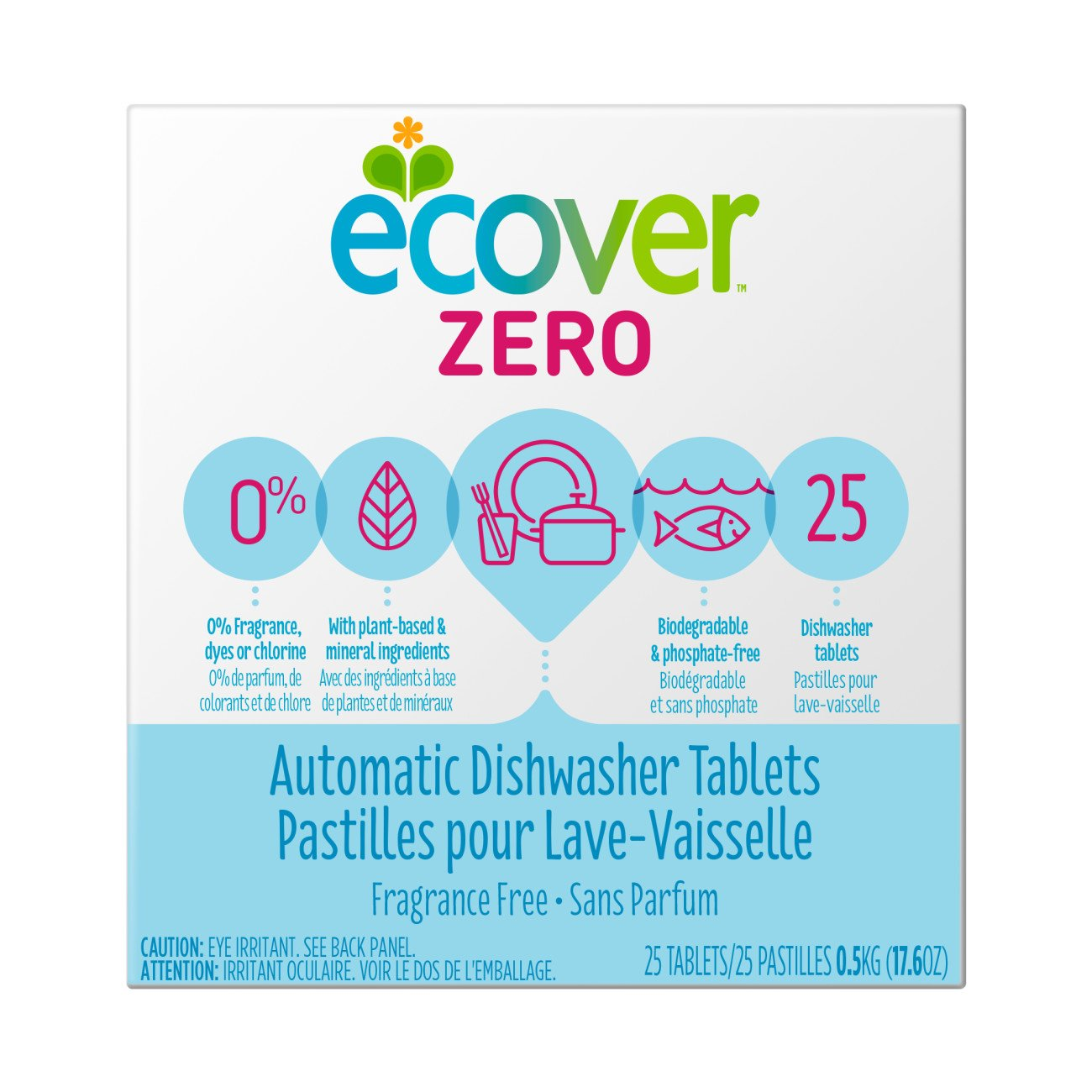 Ecover Automatic Dishwasher Soap Tablets, Zero (Fragrance-Free), 25 Count