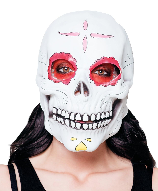 La Catrina SCHELETRO MORTE maschera SUGAR SKULL MASCHERA CON ROSSI ROSE giorno dei morti