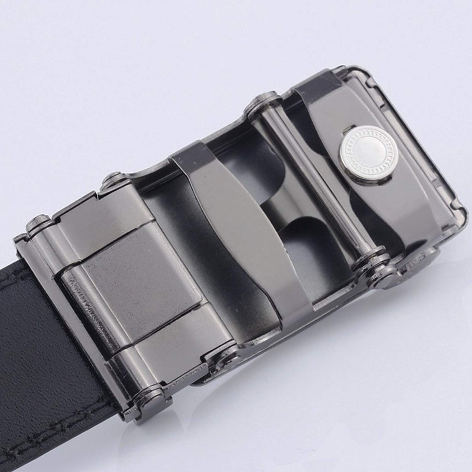 Tcplyn Durable Men Casual Belt Business Belt Artificial Leather Belt with Automatic Buckle Best Gift for Friends Families 1pcs Black