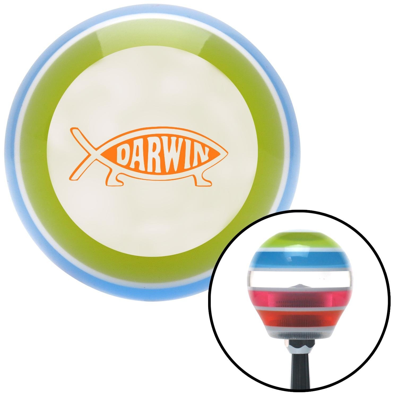 Orange Darwin Fish American Shifter 136186 Stripe Shift Knob with M16 x 1.5 Insert
