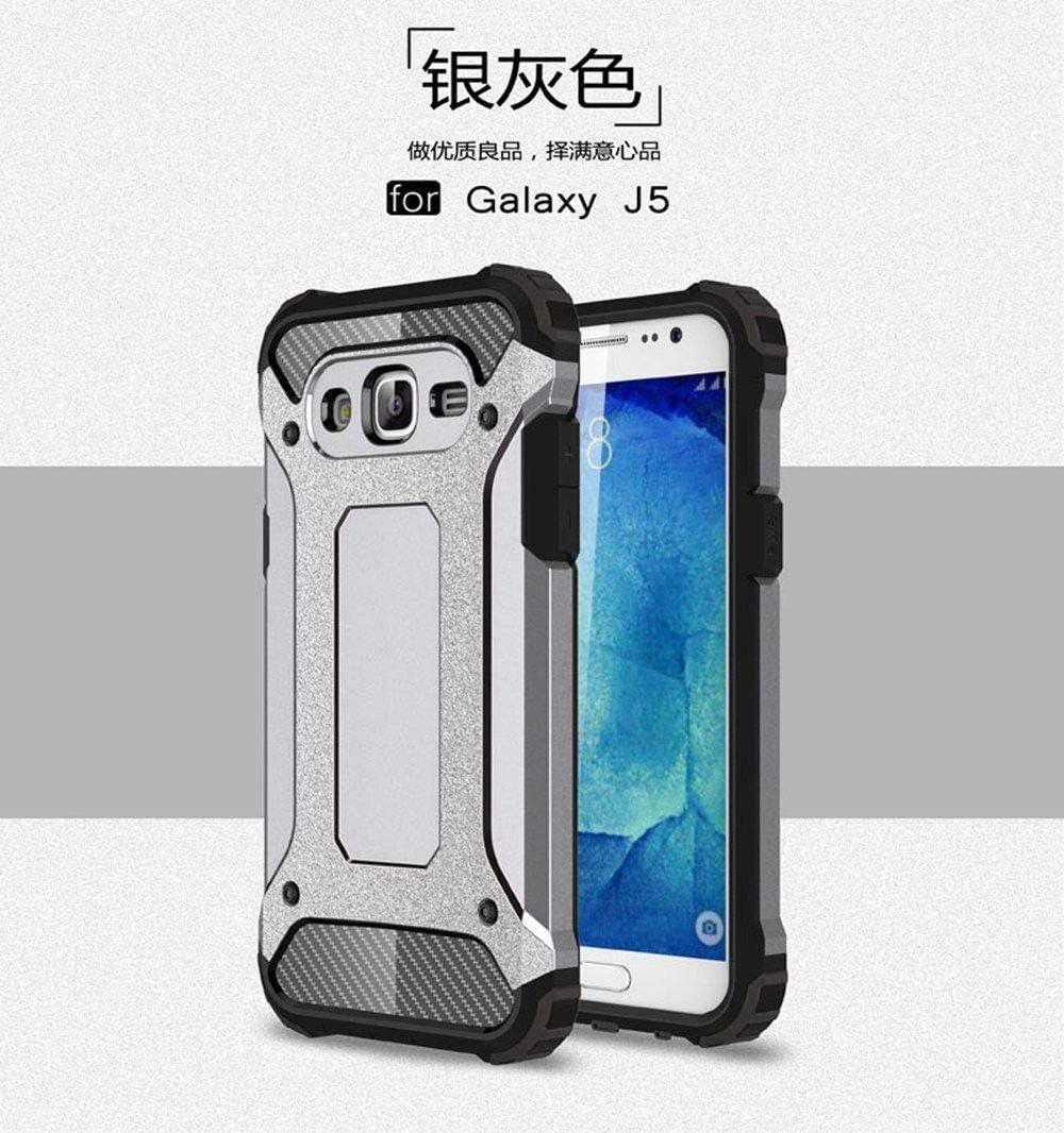 tinyue® Armadura Series TPU + PC Doble protección Funda Anti caída a Prueba de Golpes Duradero Phone Case para Samsung Galaxy J5 (2015 Version, 5.0 Pulgada) Smartphone Plata
