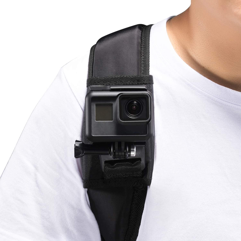 Mochila, correa para el hombro, montaje con 360 grados de rotación ajustable, hebilla de gancho, gancho y correa de cierre Compatible with GoPro Hero (2018) 7 6 5 4 3+ Session