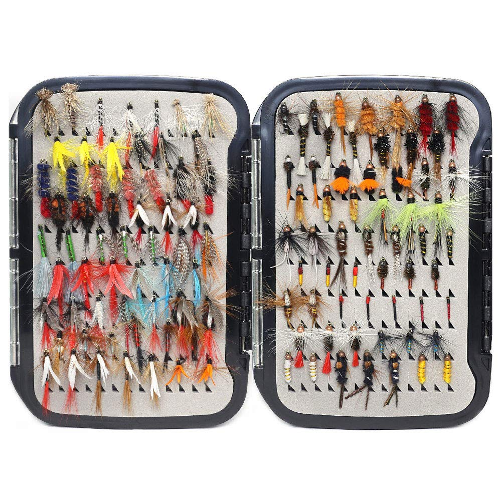 YZD Trout Fly Fishing Flies Collection 225/180/120/118/60 Premium Flies Dry Wet Nymph Streamers Fly Assortment with Fly Box Flyfishing Flys Lures Kits (Must-Have Trout Fly Selection 118 Pcs)