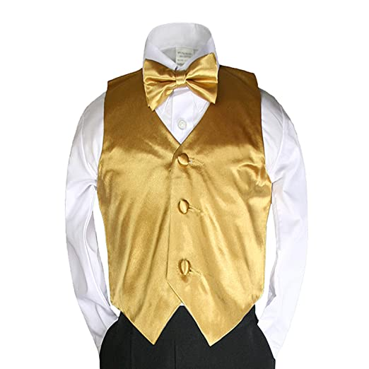 6a519bc96 Amazon.com  Unotux 2pc Boys Satin Gold Vest and Bow tie Set from ...