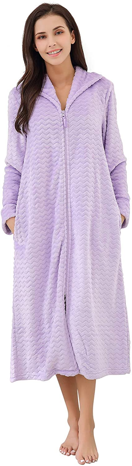 Richie House Women's Soft and Warm Fleece Robe with Zipper Size S-XL RHW2856