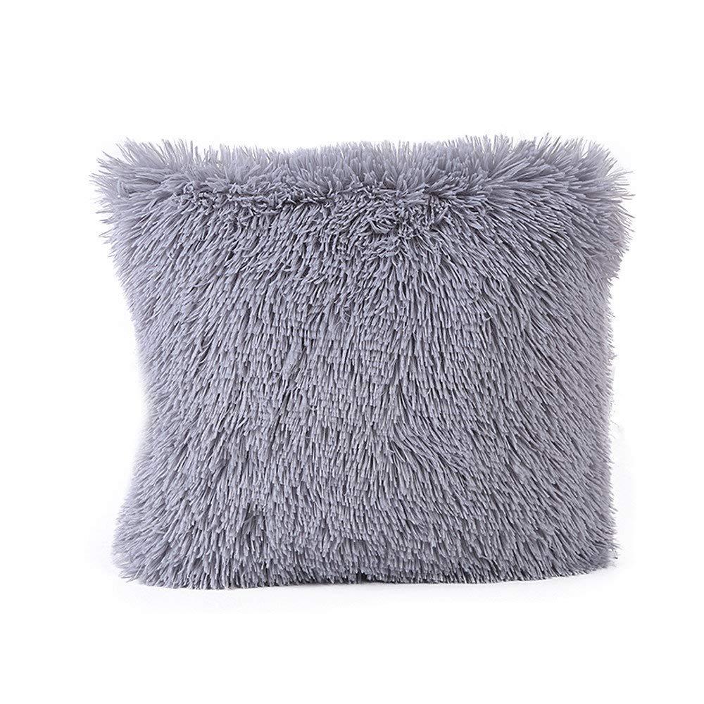 Dressin Decorative Sea Lion Velvet Fur Pillow Case Solid Waist Throw Cushion Cover Pillowcase for Bed Sofa Car