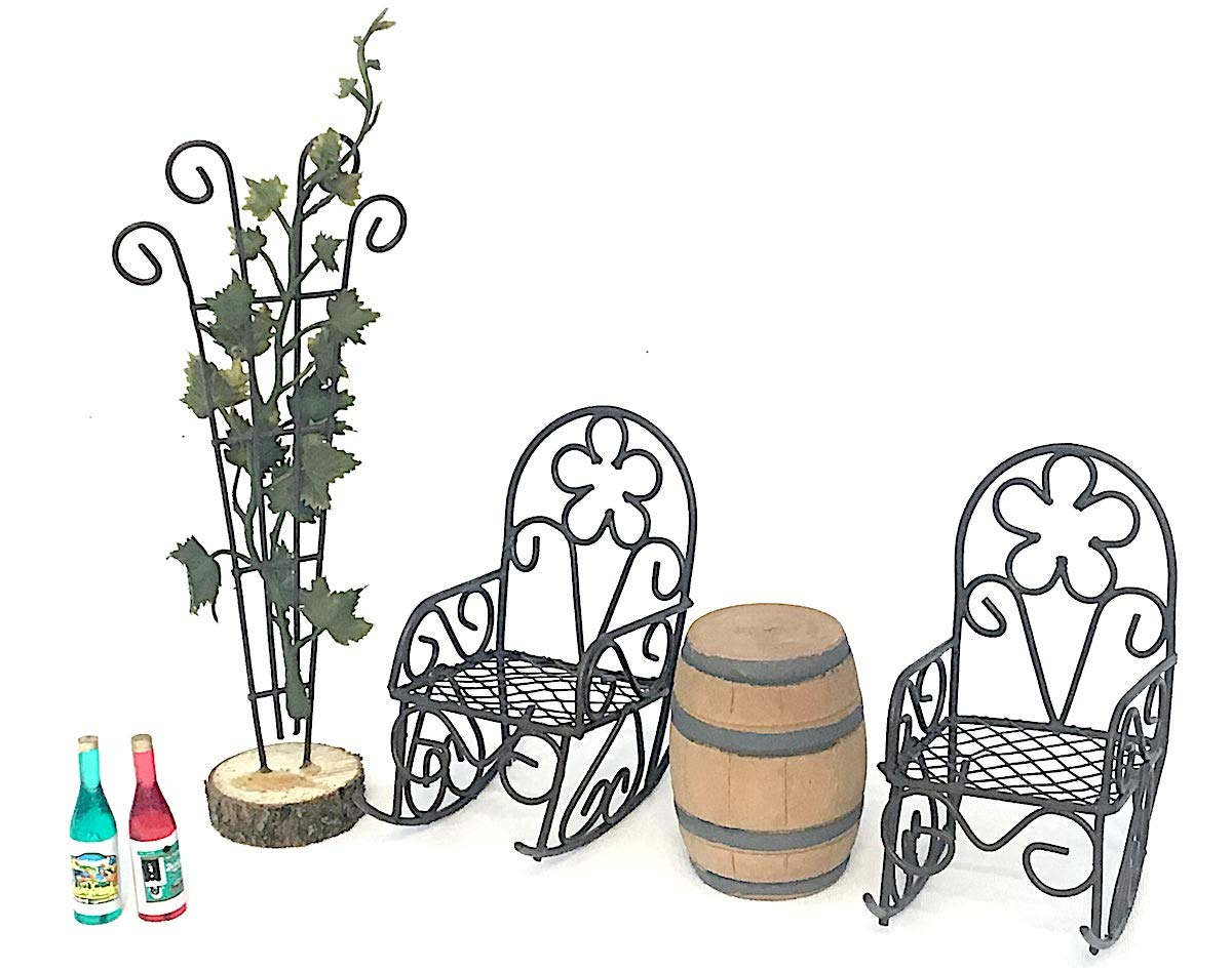 Snickerdoodle Smalls Wine Time Miniature Wine Barrel, Grape Vine Adorned Trellis, Chairs and Wine Bottle Set for Fairy Garden, Dollhouse, Terrarium or Home Decor