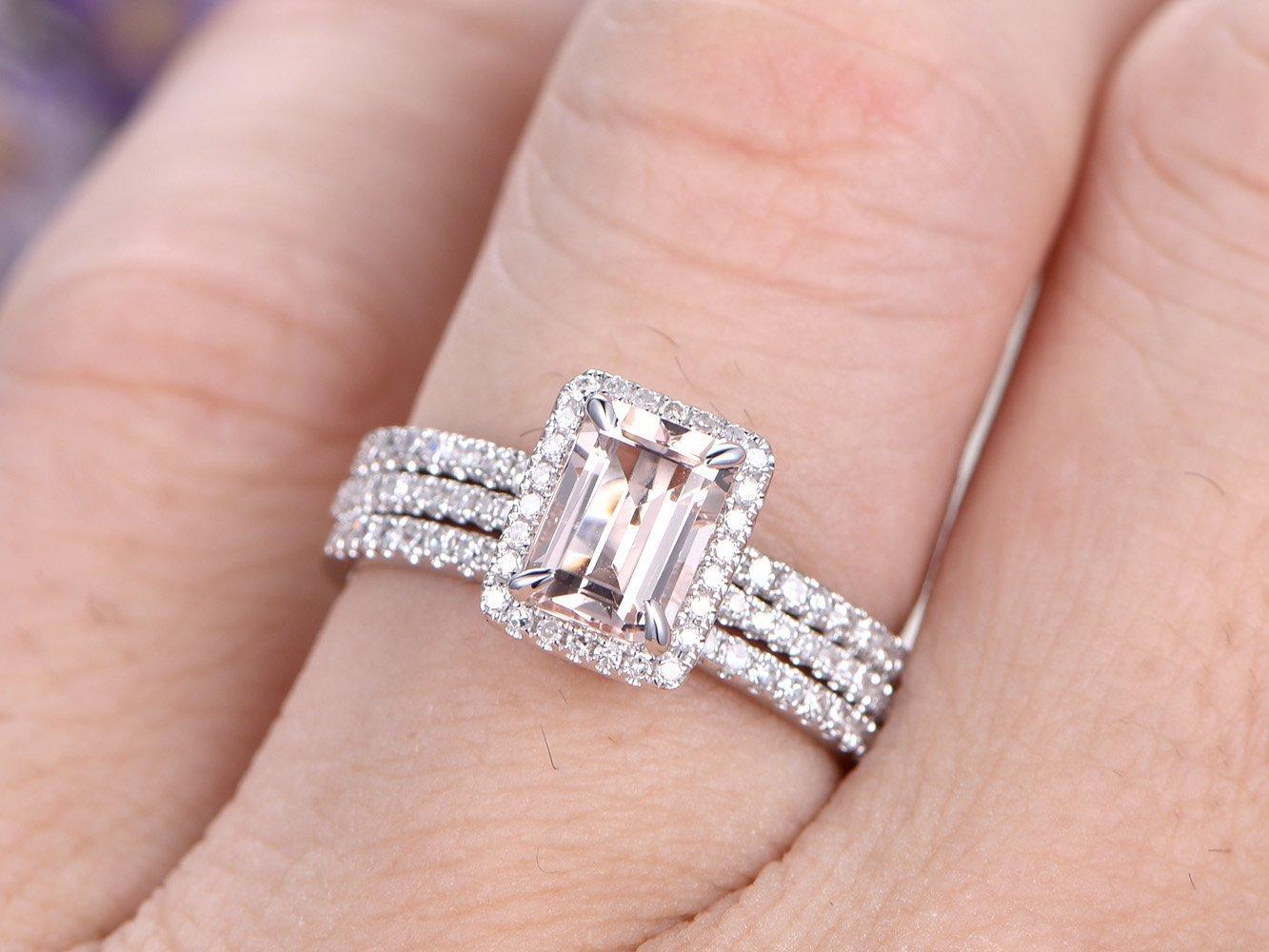 Amazon.com: 3pcs Morganite Wedding Ring Set,5x7mm Emerald Cut ...