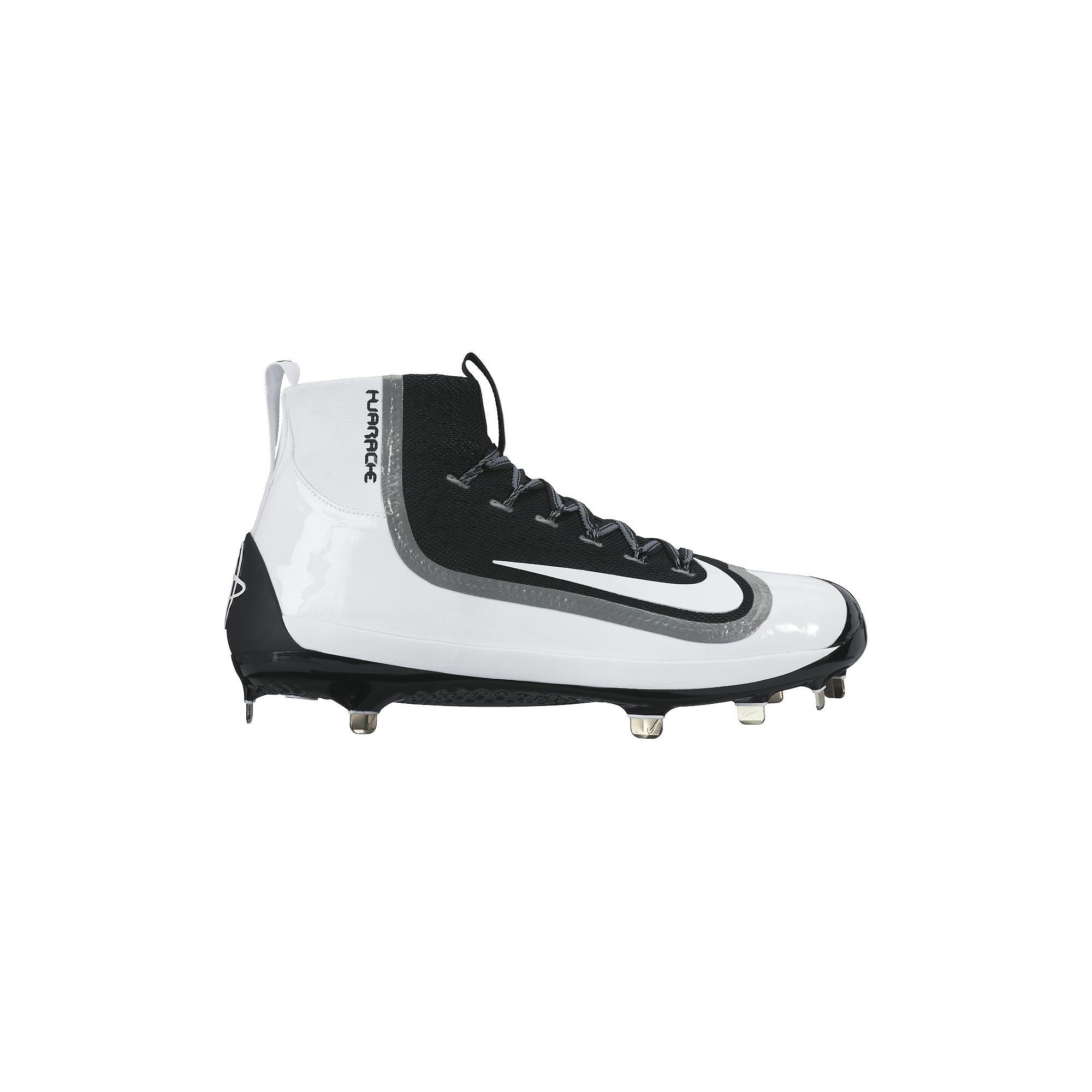 Nike Air Huarache 2K Filth Elite Mid Mens Metal Baseball Cleats (12, Black/White)
