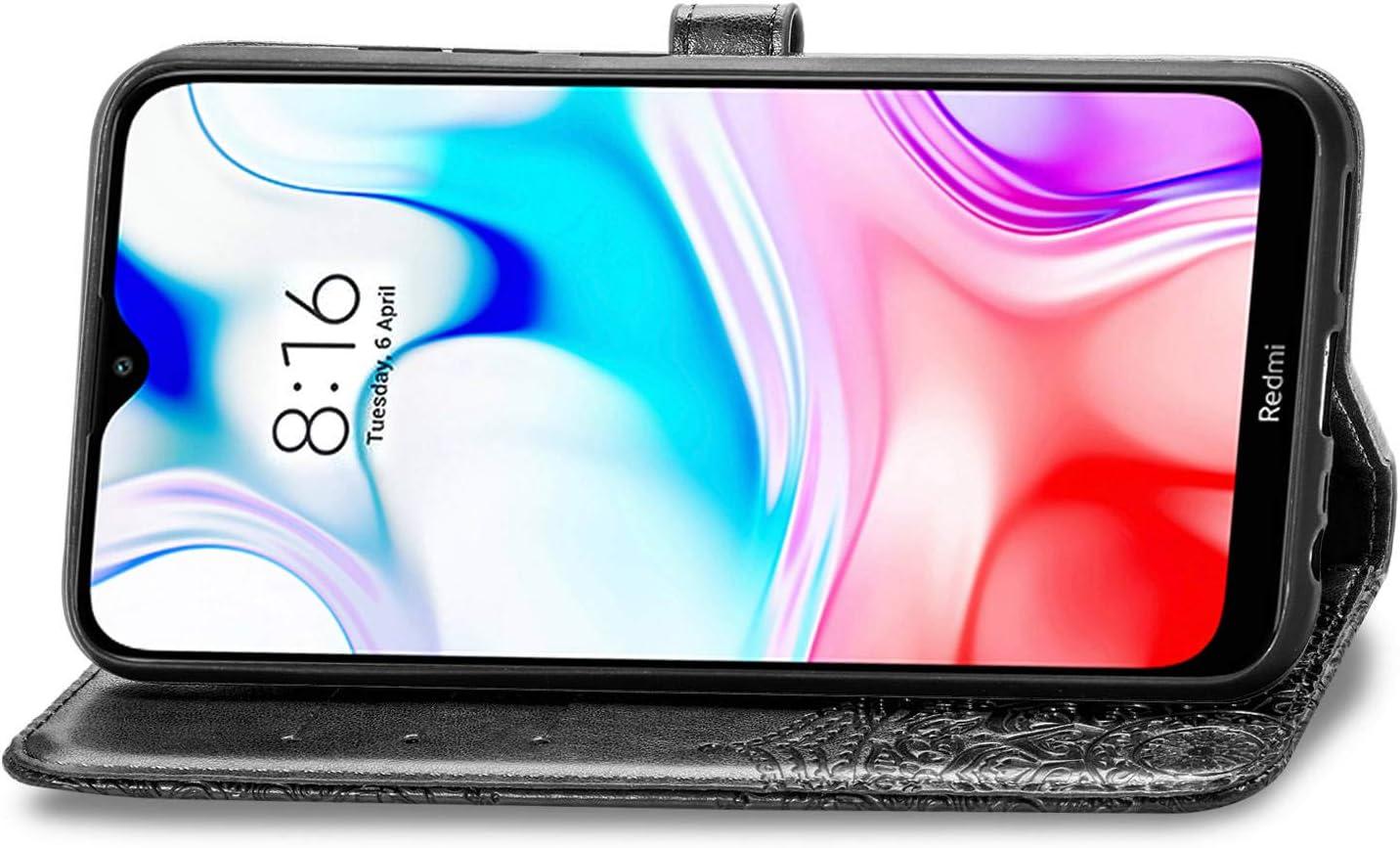 Laybomo H/ülle f/ür Xiaomi Redmi 8 Schale Ledertasche Schutzh/ülle Blumenpr/ägung mit Kartensteckplatz Brieftasche Magnetisch Stehen Weiches TPU Silikon Cover Handyh/ülle Xiaomi Redmi 8 Blau