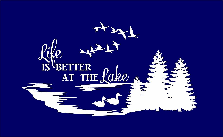 Life Is Better At The Lakeビニールデカール車トラックウィンドウガラス壁ノートパソコン 10 Inches ホワイト DD-LIFEBETTERLAKE-2 10 Inches ホワイト B076GBHHWM