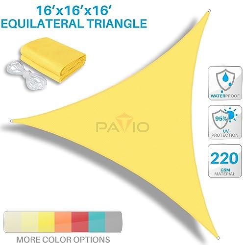 PATIO Paradise 16 x 16 x 16 Waterproof Sun Shade Sail-Yellow Triangle UV Block Durable Awning Canopy Outdoor Garden Backyard