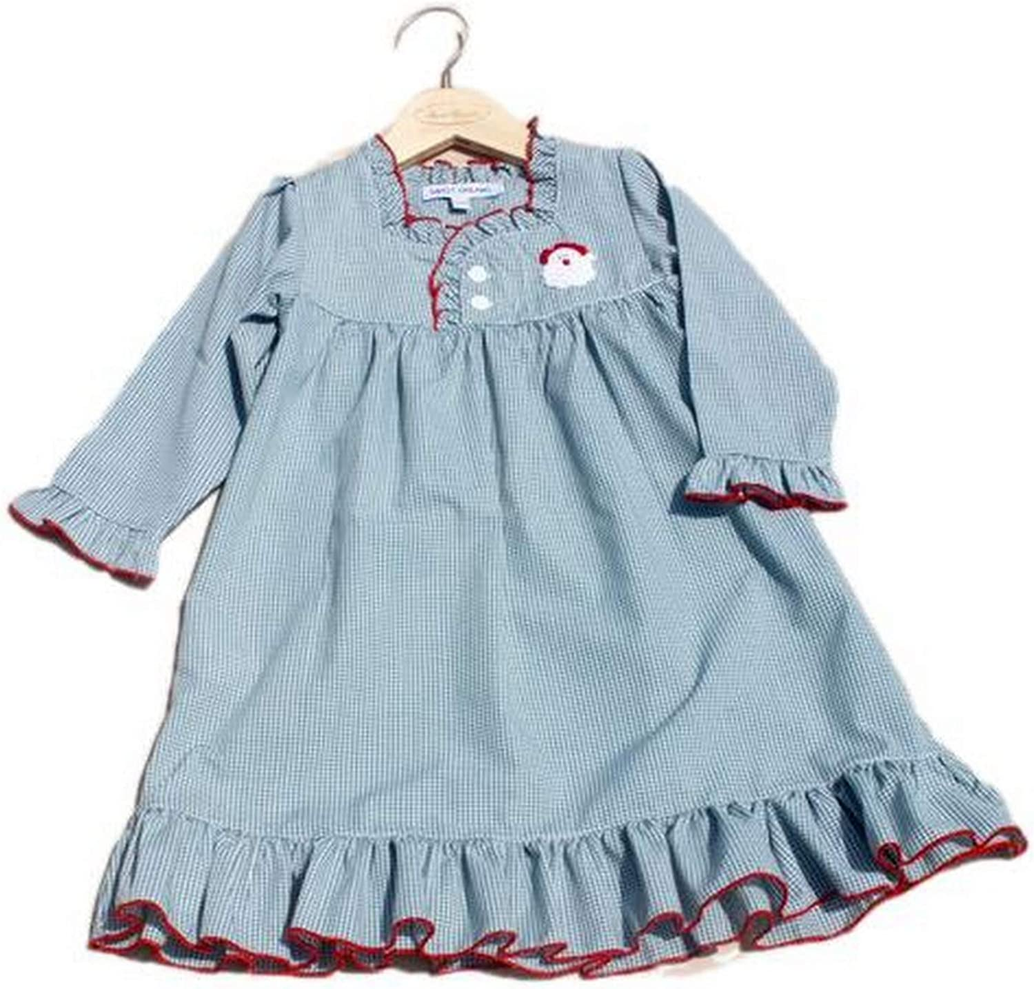 Sweet Dreams Santa Embroidered Green Gingham Checked Christmas Girls Nightgown