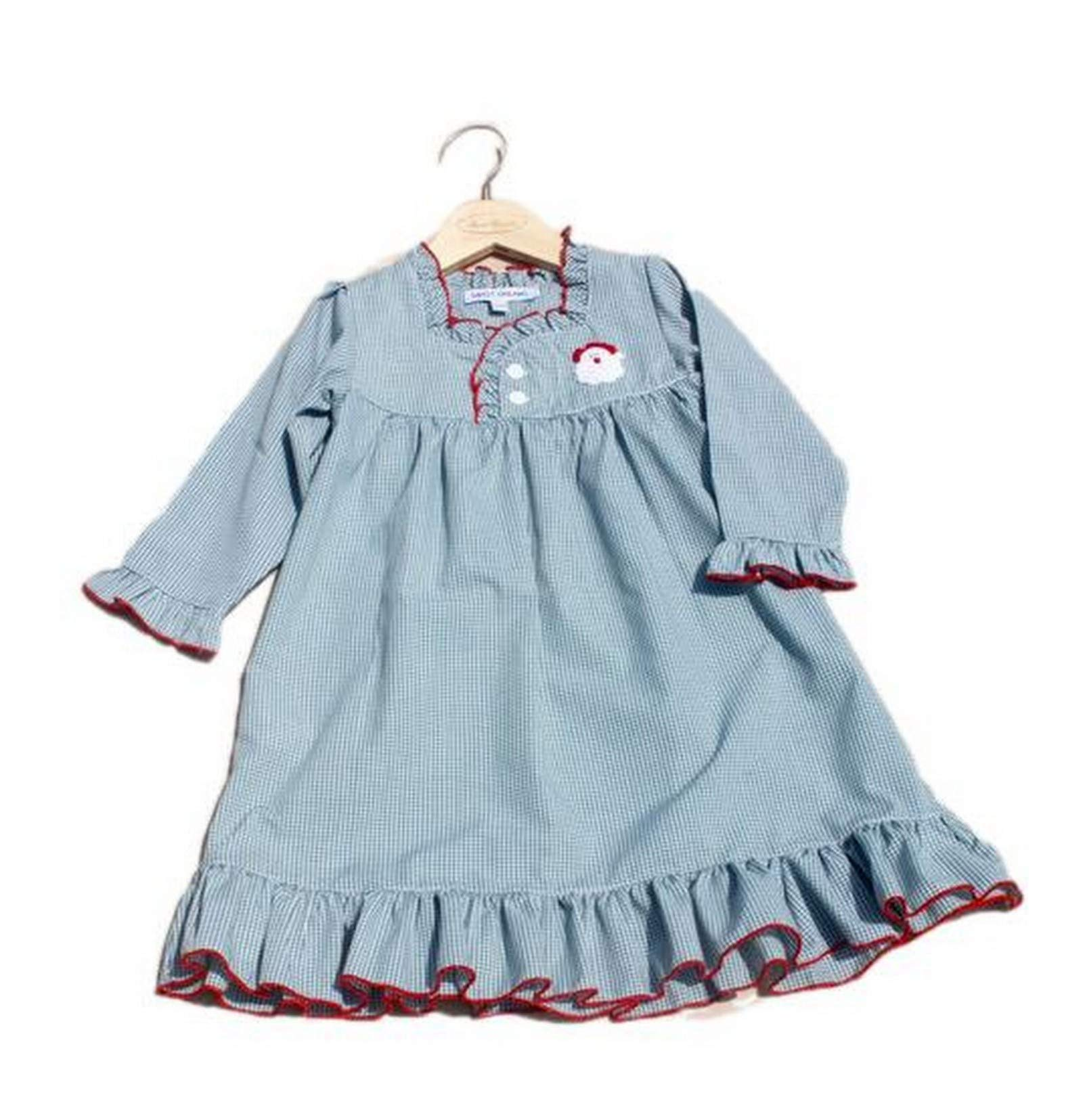 Sweet Dreams Santa Embroidered Green Gingham Checked Christmas Girls Nightgown 6Y by Sweet Dreams