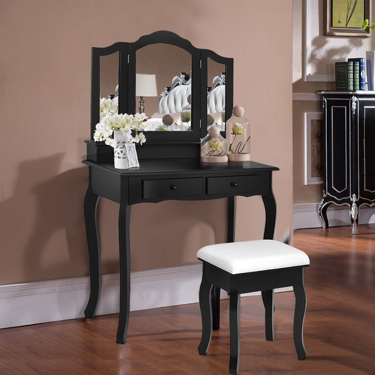 Giantex Bathroom Vanity Set Tri-Folding Mirror W/Bench 4 Drawer Dressing Table Make-up Vanity Table Set (Black)