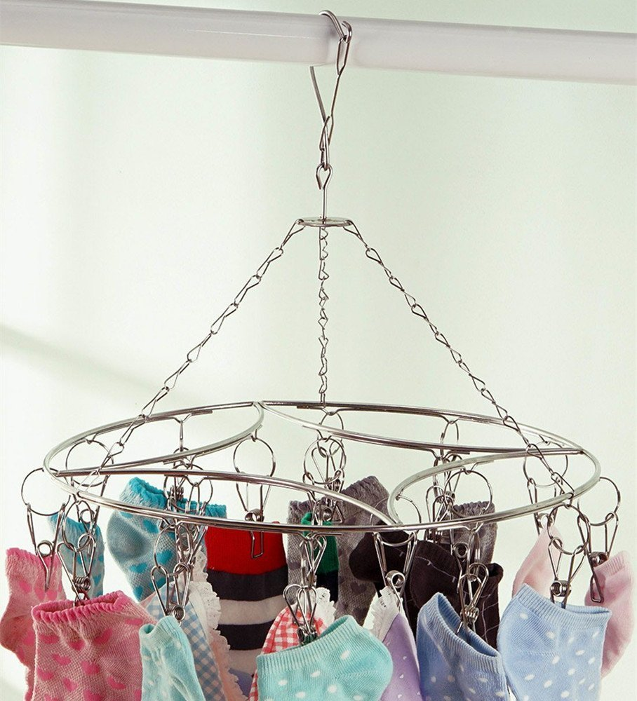 Ecolife Laundry Clothesline Hanging Rack for Drying Clothing Set of 20 Stainless Steel Clothespins Round AX-AY-ABHI-111713