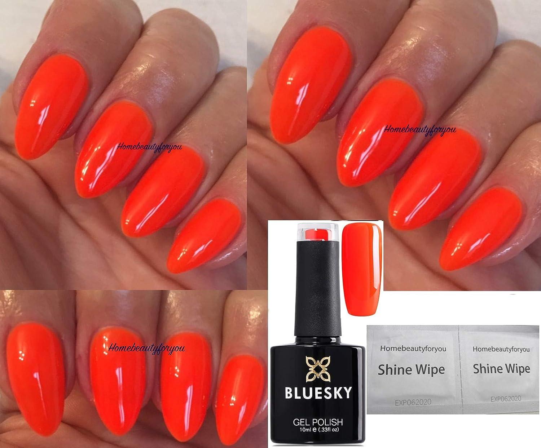 Bluesky Vernis à ongles gel fluo , Couleur 5 Orange vif , Séchage sous  lampe UV ou LED , 10 ml , Avec 2 lingettes brillance LuvliNail