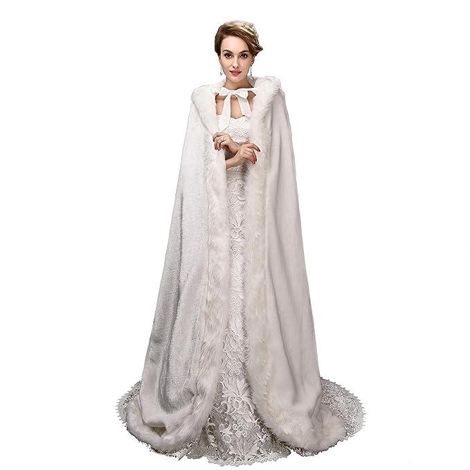 EnjoyBridal® Warm Winter Faux Pelz Hochzeit Lang Braut Mantel Bolero ...