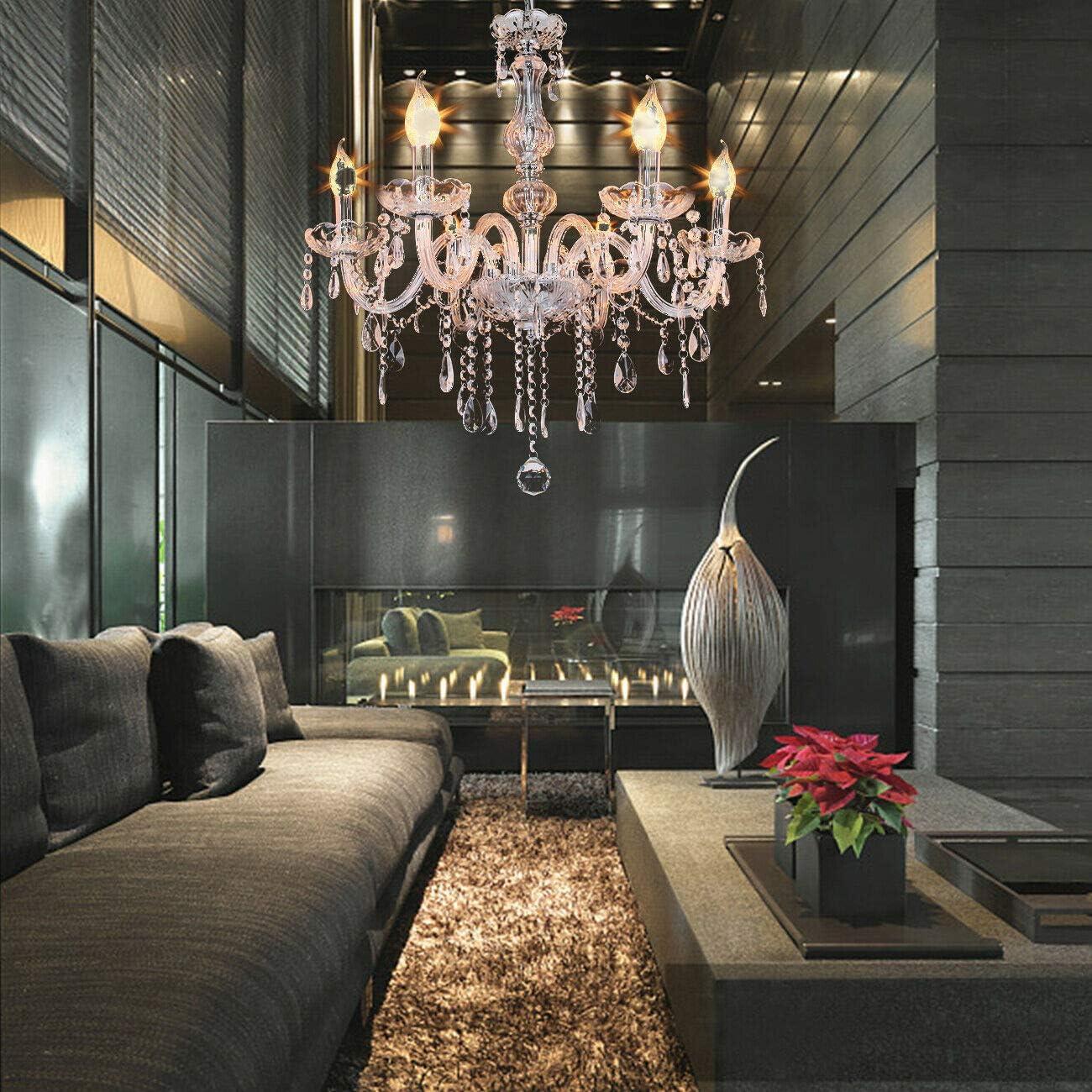 Samger Araña de 6 brazos Cristal K9 Lámpara de techo Lámpara Colgante E14 para la entrada del pasillo del dormitorio de la sala de estar: Amazon.es: Iluminación